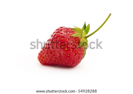 red strawberry isolated on white close-up - stock photo