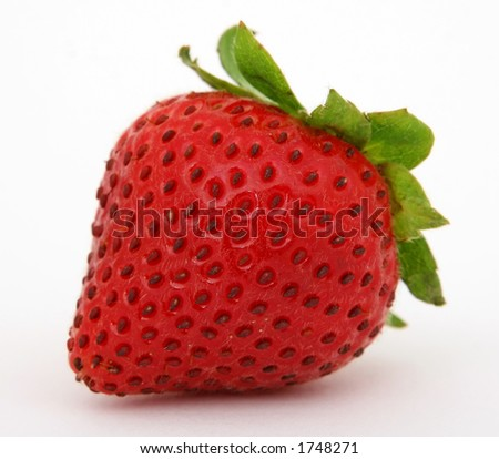 Red strawberry macro close up isolated on white - stock photo
