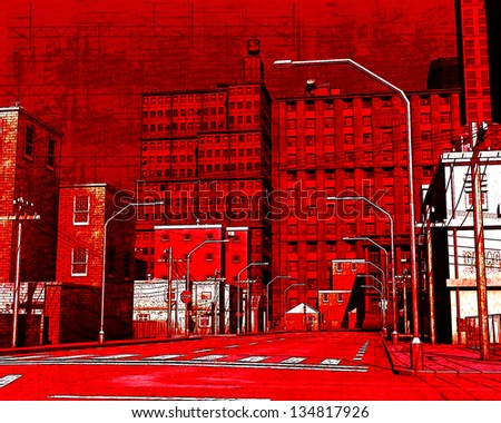Red Street Grunge Illustration - stock photo