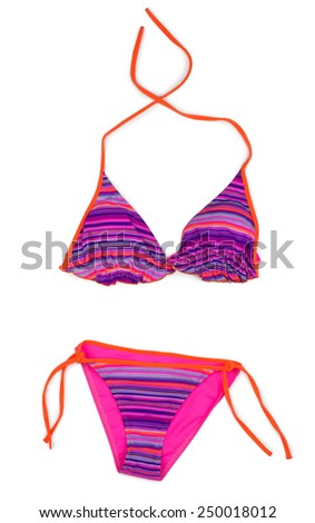 Red striped swimsuit. Isolated on white - stock photo