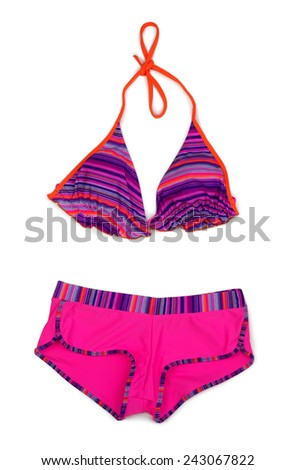 Red striped swimsuit. Isolated on white background. - stock photo
