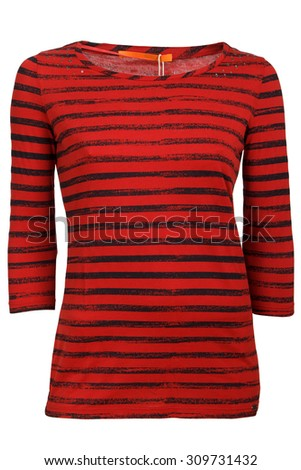 red stripped female t-shirt - stock photo