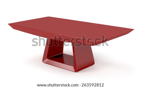 Red stylish coffee table on white background - stock photo