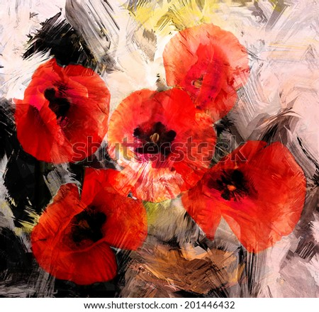 Red stylized poppies on grunge stained and striped dynamic background - stock photo