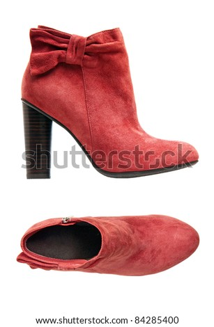 Red suede female boot, side and top views over white - stock photo