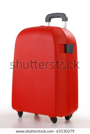 Red suitcase isolated on white - stock photo