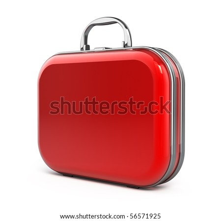 Red suitcase isolated over white - stock photo
