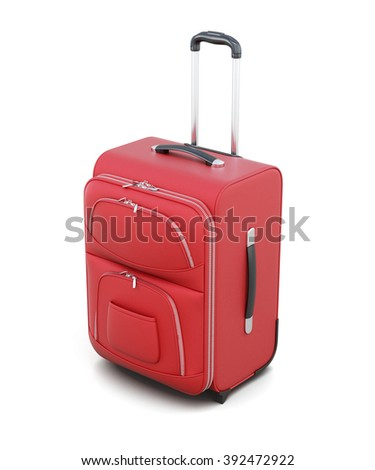 Red suitcase on wheels isolated on white background. With a retractable handle. 3d rendering. - stock photo
