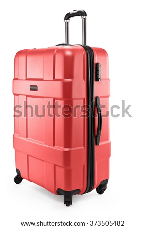 red suitcase plastic half-turned - stock photo