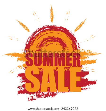 Red Summer Sale Banner, Sticker, Icon or Label Isolated on White Background  - stock photo