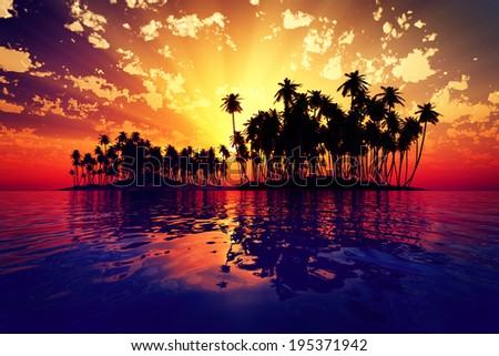 red sun rays inside coconut island on golden tropic sea - stock photo