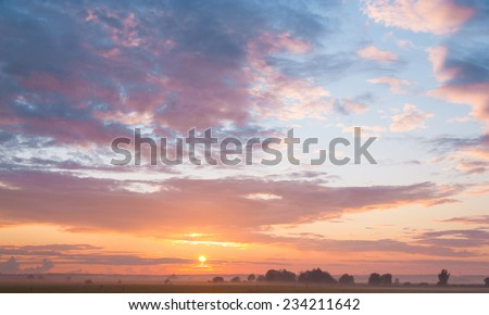 Red Sunbeams Day Ends  - stock photo