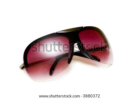 Red sunglasses isolated on the white background