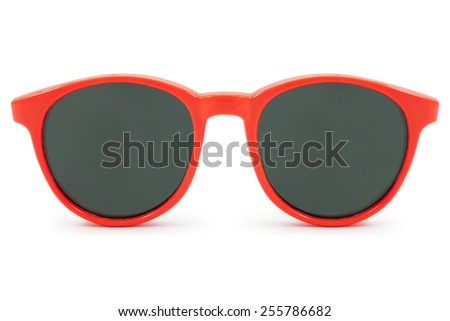 red sunglasses on white background - stock photo
