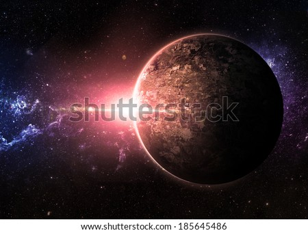 Red Sunrise over Lone Planet - Elements of This Image Furnished By NASA  - stock photo