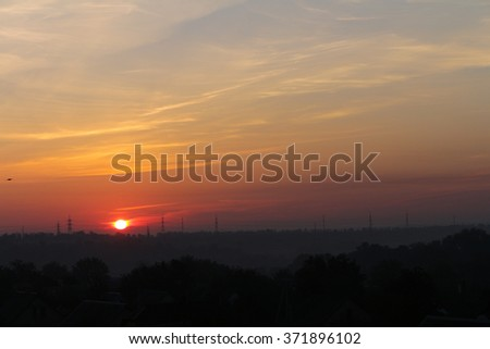 Red sunrise suns