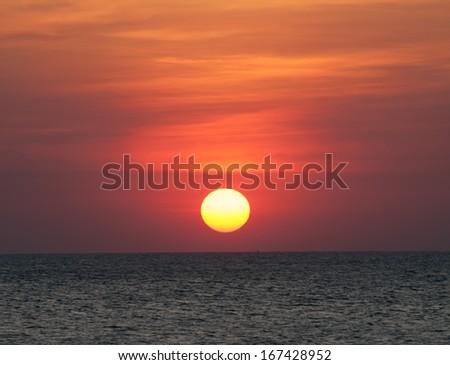 Red Sunset of Bangsane in Thailand - stock photo