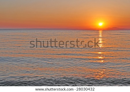 red sunset of sea of japan - stock photo