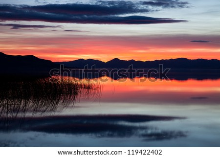 Red Sunset on Utah Lake - stock photo