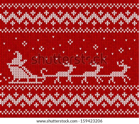 Red sweater with Santa and his deers seamless pattern - stock photo
