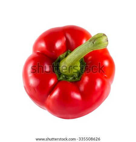 Red Sweet bell pepper (capsicum) isolated on white - stock photo