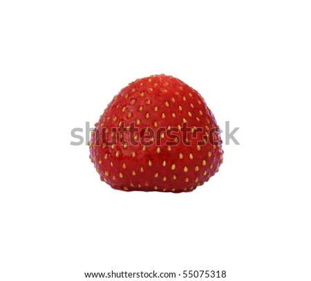 red sweet strawberry isolated on white background - stock photo
