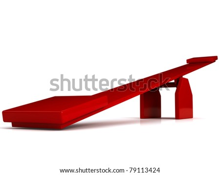 Red swing over white background. 3d computer generated image - stock photo