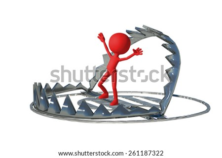 red symbolic man in a bear trap, white background, 3d render illustration - stock photo