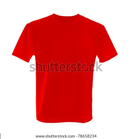 red T-shirt ñan be used as design template. - stock photo