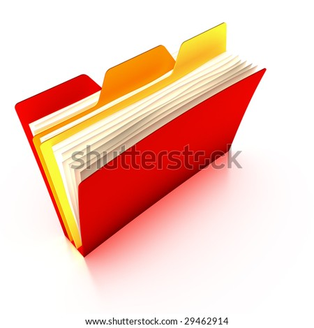 Red tabbed folder (with a clipping path)