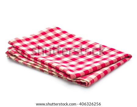 red table napkins on white background isolated - stock photo