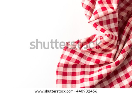 red tablecloth on white background,crumpled fabric on white background - stock photo