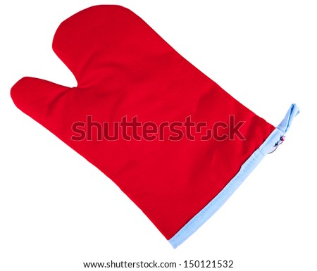 Red tableware glove isolated on white background