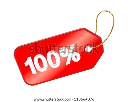 Red tag 100%.Isolated on white background.3d rendered. - stock photo
