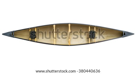 red tandem canoe with wood seats isolated on white with a clipping path, top view - stock photo