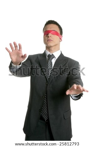 Red tape blindfold businessman isolated on white background - stock photo