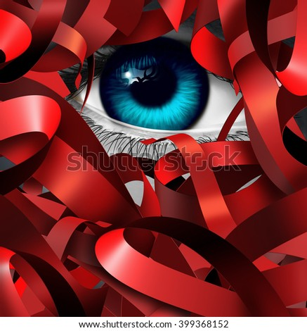 Red tape crisis and bureaucratic problem as a human eye tangled in business bureaucracy and regulations as a concept and symbol of government gridlock or corporate confusion as a 3D illustration. - stock photo