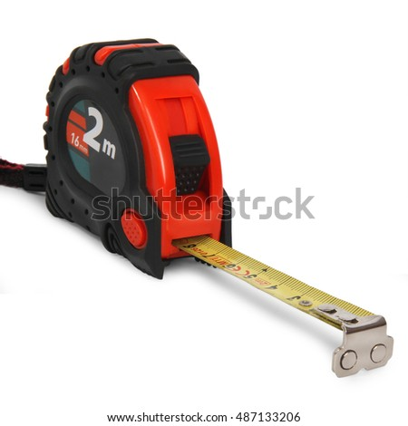 Red tape measure isolated on white background