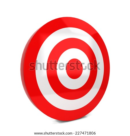 Red target. 3d illustration isolated on white background  - stock photo