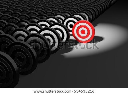 Red target different from the crowd. 3d illustration