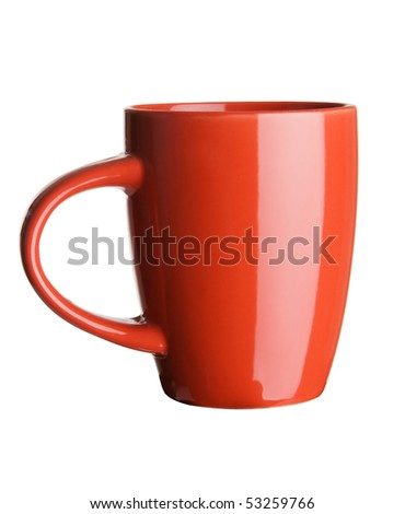 Red tea cup over white background - stock photo