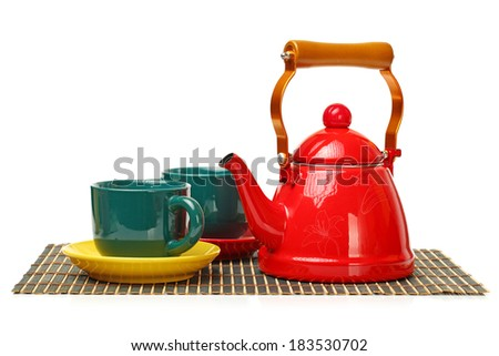 Red tea kettle isolated on white background  - stock photo