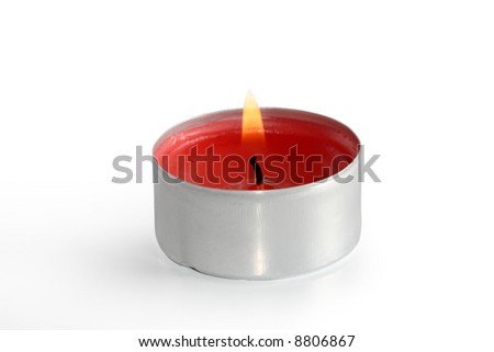 red tea light candle - stock photo