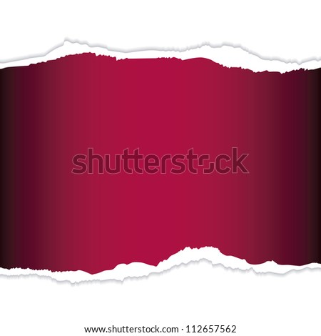 Red tear paper with blank space to write your own text - stock photo
