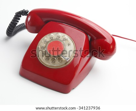 Red telephone - stock photo
