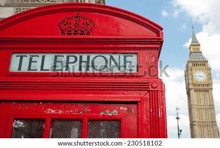Red telephone box and Big Ben, London - stock photo