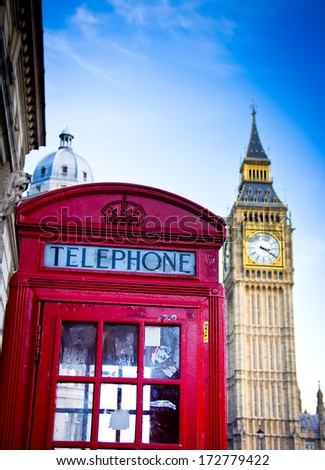 red telephone box and Big Ben. London, England - stock photo