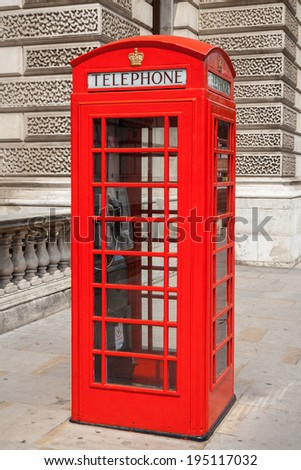 Red telephone box at London. England - stock photo