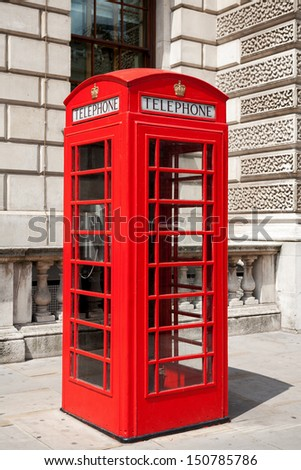 Red telephone box in London. England  - stock photo