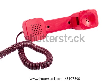 Red telephone handset on a white background